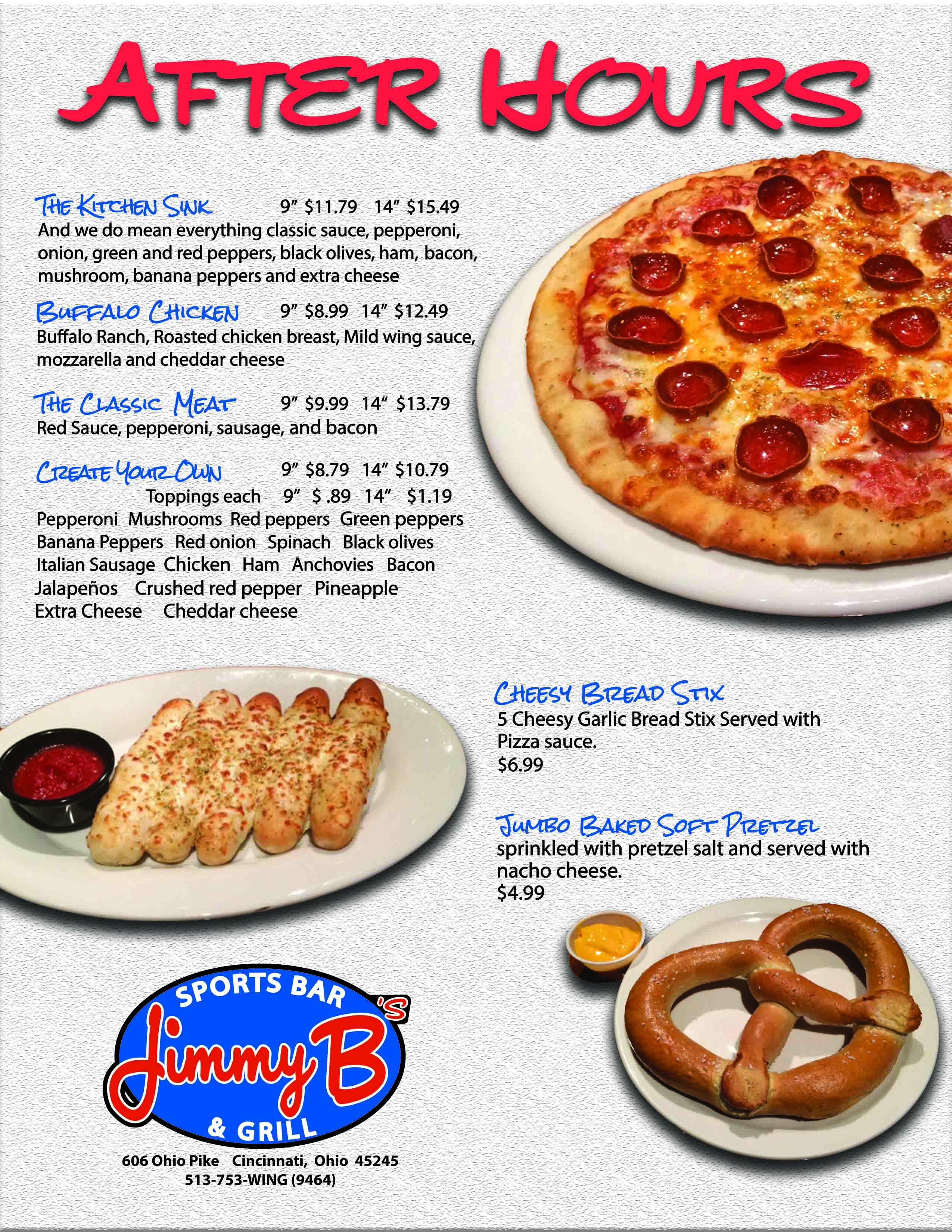 After Hours Menu | Jimmy B\'s Sports Bar & Grill - Cincinnati